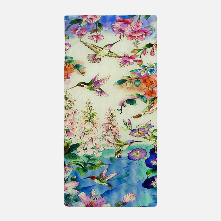 HUMMINGBIRD_STAINED_GLASS_23 35 Large  Beach Towel