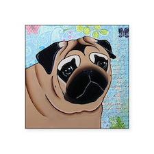 "Pug Mouse Pad Square Sticker 3"" x 3"""