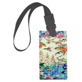 Floral blue Luggage Tags