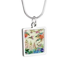 HUMMINGBIRD_STAINED_GLASS_ Silver Square Necklace