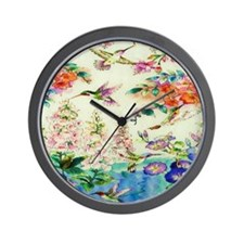 HUMMINGBIRD_STAINED_GLASS_9 12_Framed_P Wall Clock