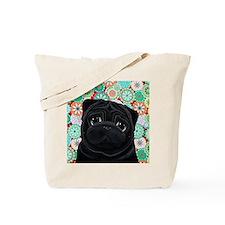 Black Pug circles Tote Bag