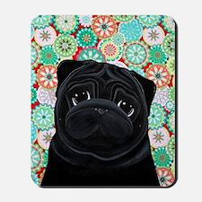 Black Pug circles Mousepad
