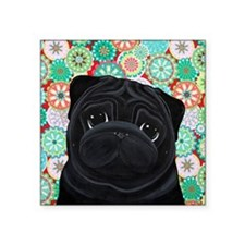 "Black Pug circles Square Sticker 3"" x 3"""