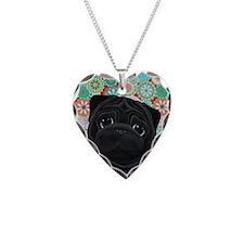 Black Pug circles Necklace