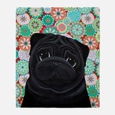 Black Pug circles Throw Blanket
