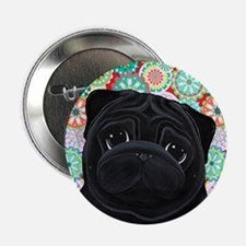 "Black Pug circles 2.25"" Button"