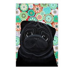 Black Pug circles Postcards (Package of 8)