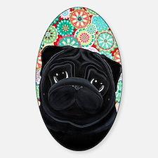 Black Pug circles Sticker (Oval)