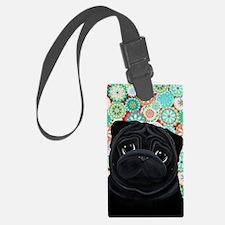 Black Pug circles Luggage Tag