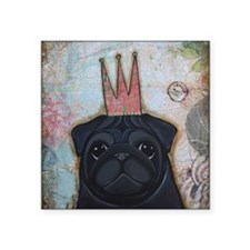 "Black Pug Crowned Square Sticker 3"" x 3"""