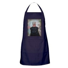 Black Pug Crowned Apron (dark)