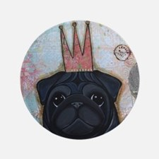 """Black Pug Crowned 3.5"""" Button"""