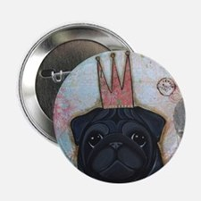 "Black Pug Crowned 2.25"" Button"