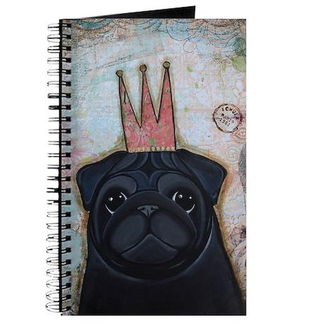 Black Pug Crowned Journal