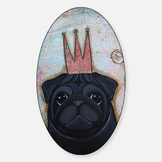 Black Pug Crowned Sticker (Oval)