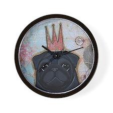 Black Pug Crowned Wall Clock