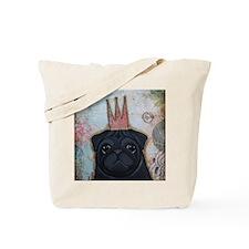 Black Pug Crowned Tote Bag