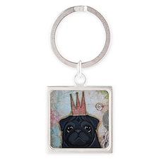 Black Pug Crowned Square Keychain