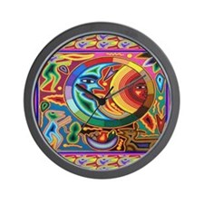 Mexican_String_Art_Image_Sun_Moon_12 12 Wall Clock