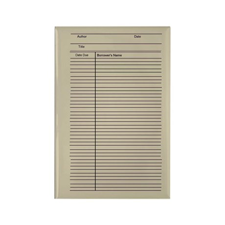 Library check out index card Rectangle Magnet