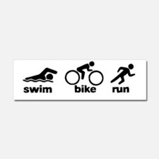 Swim_bike_run_blk Car Magnet 10 x 3