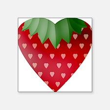 """strawberry heart Square Sticker 3"""" x 3"""""""
