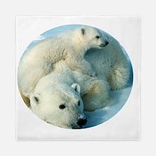 polar bear with cub cuddling Queen Duvet