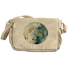 polar bear with cub cuddling Messenger Bag