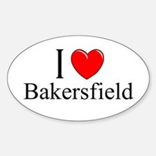 """I Love Bakersfield"" Oval Decal"