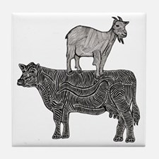 Goat on cow-2 Tile Coaster