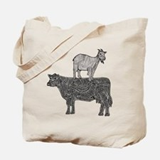 Goat on cow-2 Tote Bag