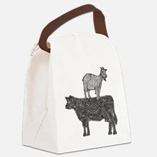 Goat on cow-2 Canvas Lunch Bag