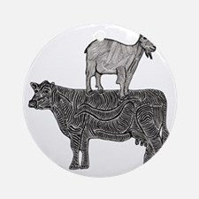 Goat on cow-2 Round Ornament
