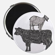 Goat on cow-2 Magnet