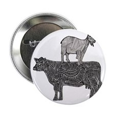 """Goat on cow-2 2.25"""" Button"""