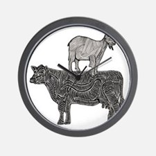 Goat on cow-2 Wall Clock
