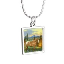 Appaloosa Sunset Silver Square Necklace