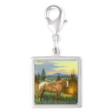 Appaloosa Sunset Silver Square Charm