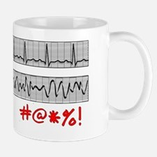 EKG Strips F Symbols RED Grey Mug