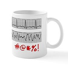 EKG Strips F Symbols RED Grey Small Mug