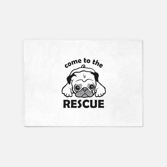 Rescue a Pug 5'x7'Area Rug