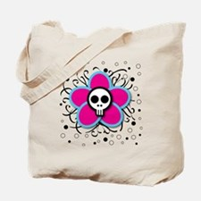Skull Flower dots Tote Bag