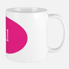 13.1 pink white sticker Mug