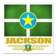 "Jackson (Flag 10) Square Car Magnet 3"" x 3"""