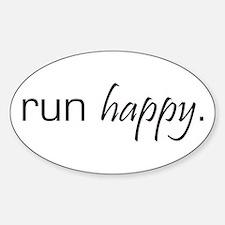 Run Happy Oval Decal