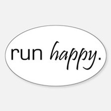 Run Happy Oval Stickers