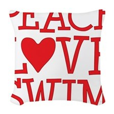 peace love swim red Woven Throw Pillow