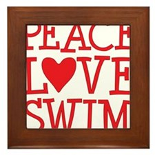 peace love swim red Framed Tile