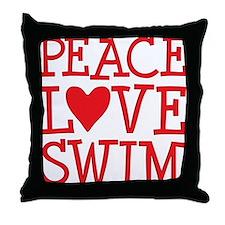 peace love swim red Throw Pillow